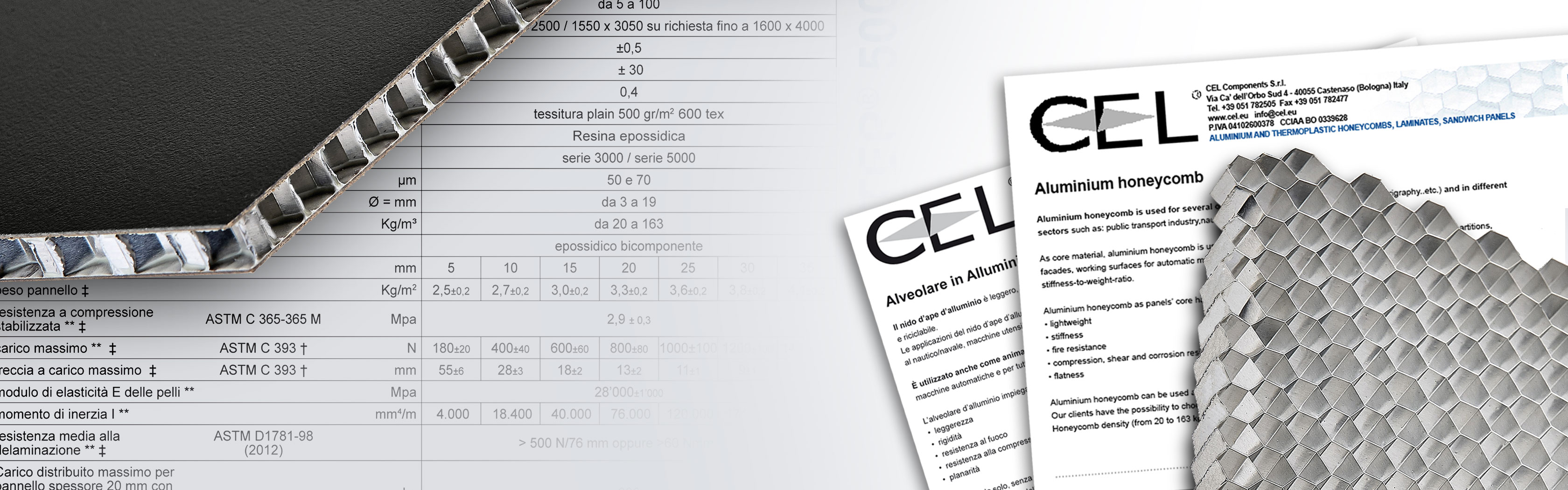 Cel components technical documentation, datasheets for its wide range of honeycomb panels.