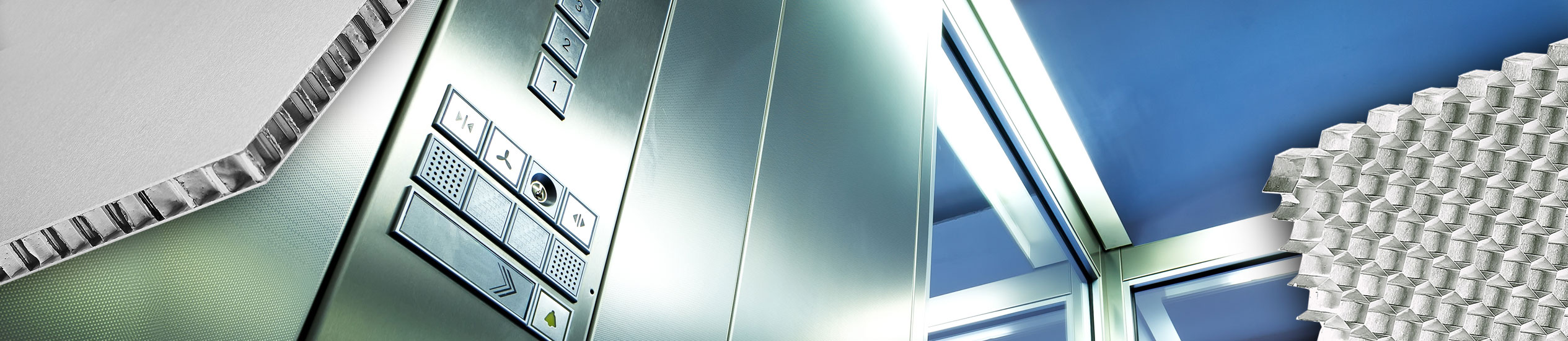 Cabins and elevators can be built with ultra-light materials such as sandwich panels. Aesthetically refined, with a wide range of finishes, supplied cut to size